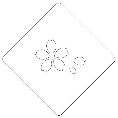 カフェアートステンシル サクラ-花びら付- 日本 お正月 LAS-0064