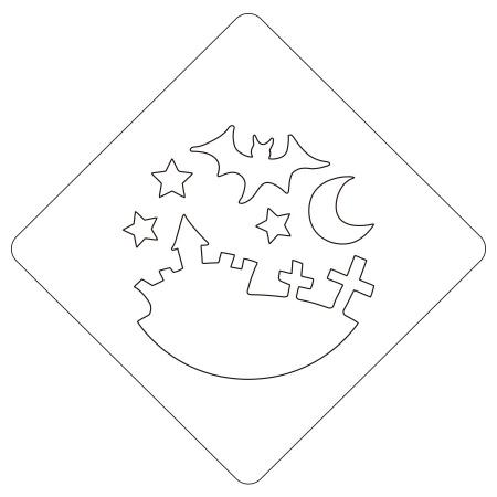ハロウィンステンシル ハロウィンナイト カフェアートステンシル LAS-0079