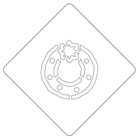 クリスマスステンシル リース カフェアートステンシル LAS-0096