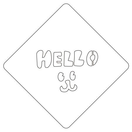 カフェアートステンシル Hello 1 LAS-0021