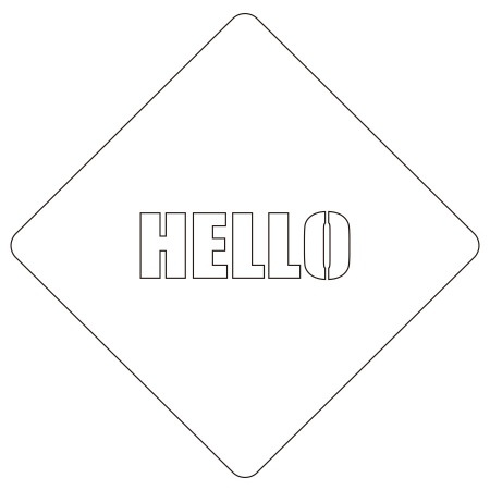 カフェアートステンシル Hello 2 LAS-0022 4573169220221